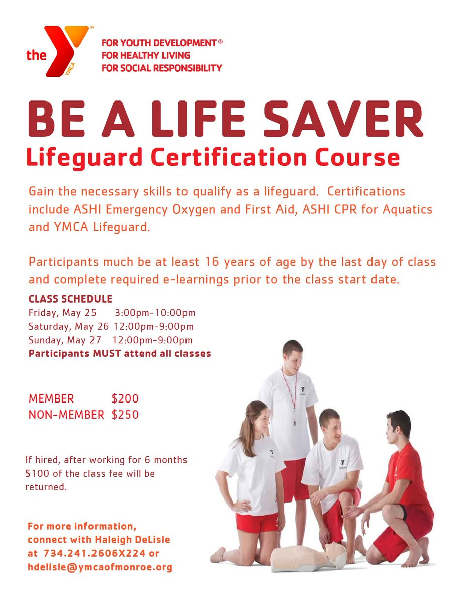 Monroe Family Ymca On Twitter Need Your Lifeguard Certification