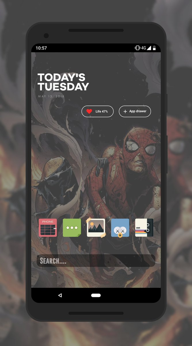I&#39;m really out of ideas today  the icons are from @paulebh0y of course the widget is from Daily UI by @ppickCH and the wall from internet and modified slightly by me  #Android #Google #Pixel2XL #KLWP #teampixel #showyourhomescreen <br>http://pic.twitter.com/1uC41azMt3
