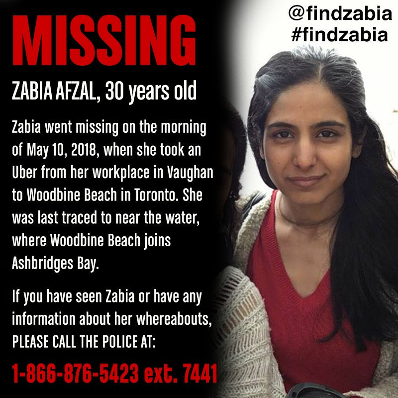 Family members, volunteers & police are continuing the search for Zabia Afzal. She has been missing since May 10. If you have any information, please call police & help @FindZabia. #findzabia
