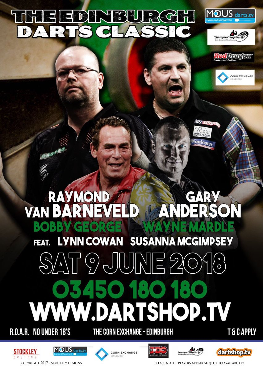 Be there !! Last few tickets to see me vs @GaryAnderson180  Motherwell Masters is already sold out so this is your last chance to buy tickets and see us and the great @BobbyGeorge180 and the one and only @Wayne501Mardle !!!