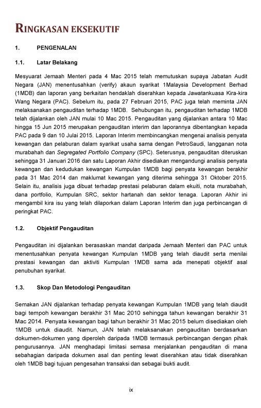 Thread By Rimauxi Ringkasan Eksekutif Executive Summary Laporan Pengauditan 1mdb