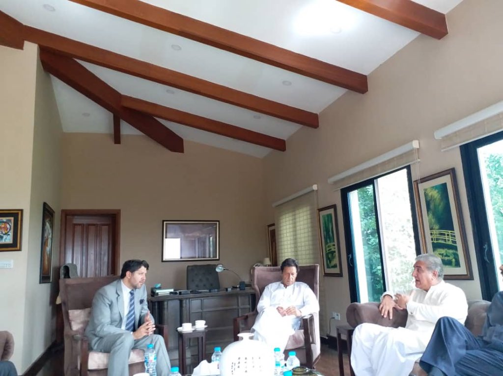 A pleasure to meet @ImranKhanPTI Chairman @PTIofficial and @SMQureshiPTI at Bani Gala to discuss Afghan Pakistan relations, Cricket Diplomacy, and coming Elections amongst others.