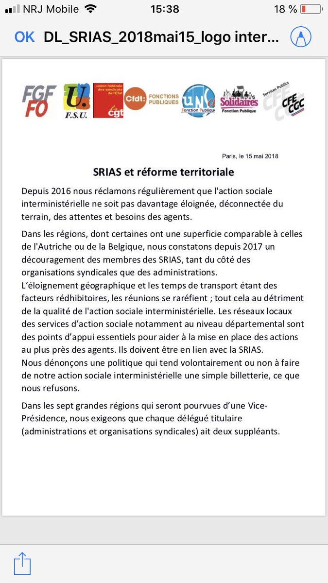 07ee428754a ... de la Fonction Publique ! Elle concerne l action sociale et l impact de  la réforme territoriale sur les SRIAS (Sections Régionales  Interministérielles ...