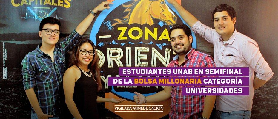 Estudiantes UNAB en la semifinal de la Bolsa Millonaria categoría Universidades