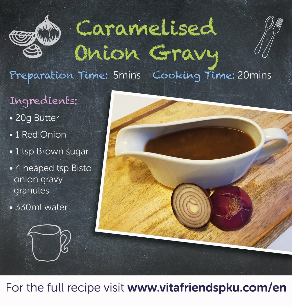 There are few things more comforting than a bowl of chips doused in gravy! Our Fakeaway recipe for today is a delicious Caramelised Onion Gravy. Let us know what you think!  https://www. vitafriendspku.com/en/recipes/low -protein-gravy/ &nbsp; …  #pku #pkurecipes #FakeawayMay<br>http://pic.twitter.com/jRlHgZxWOo
