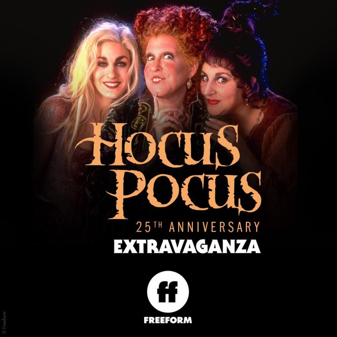 Freeform has announced Hocus Pocus 25th Anniversary Extravaganza during this year's 31 Nights of Halloween.