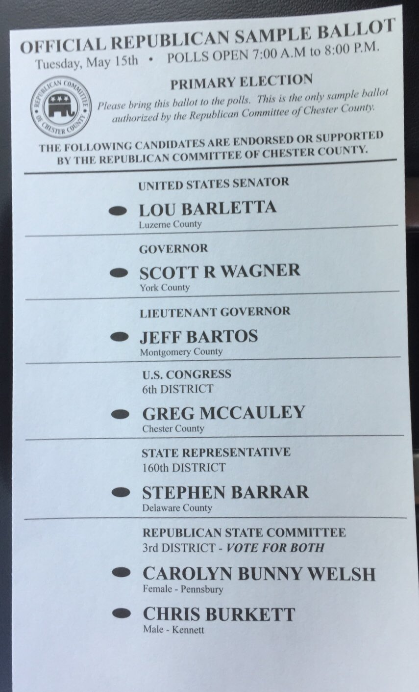 See a sample ballot for your polling place | west chester, pa patch.