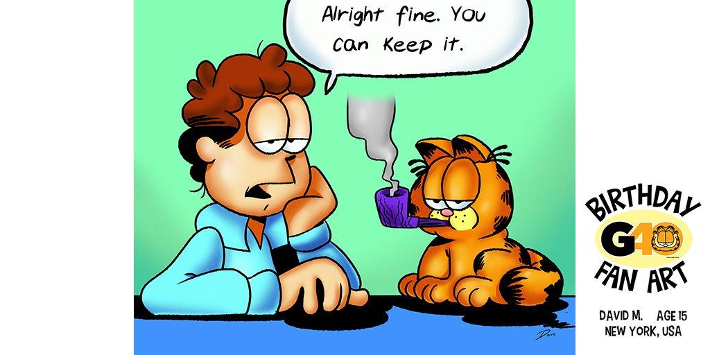 Mine. Everything is mine. 40th birthday fan art by David M., Age 15, New York. #G40 #GarfieldFanArt #birthday