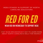 Tomorrow, May 16, North Carolina educators will be holding a March for Students and Rally for Respect. Show your support by wearing red tomorrow. To learn more, visit https://t.co/Zx8v1XBkvZ.