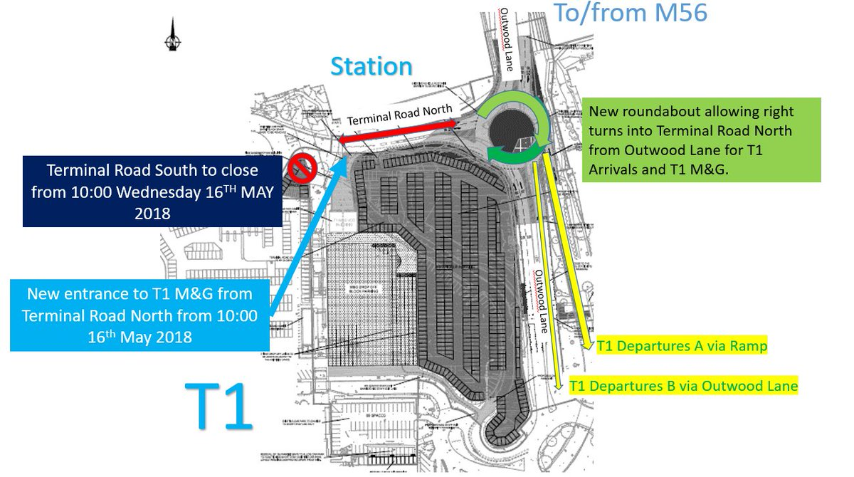 Manchester airport on twitter hi denise were sorry to hear this access t1 meet greet t1 arrivals the station traffic heading east on terminal road north will be able to turn right left onto outwood m4hsunfo