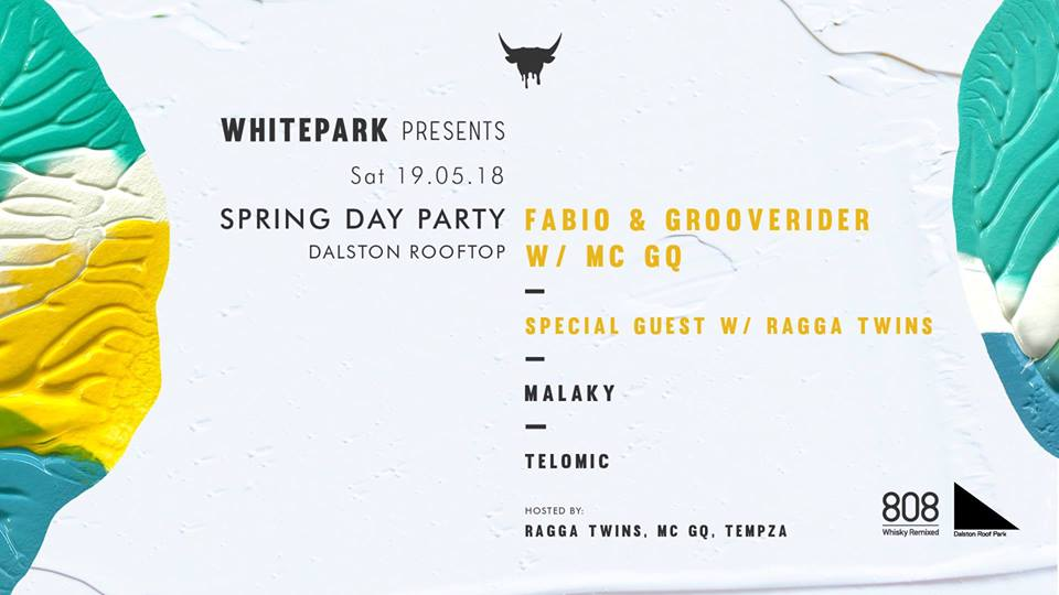 Getting excited for @Whitepark_music presents Spring Day Party at @DalstonRoofPark this Saturday! @fabioandgroove @EdSolo @TheRaggaTwins & some superb support acts! #8O8 bringing the whisky. See you there >> facebook.com/events/7816217…