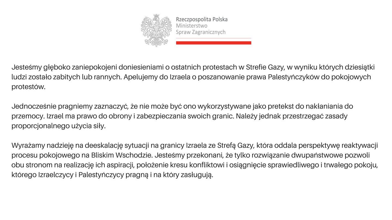Oficjalny komunikat wydany przez MSZ RP.