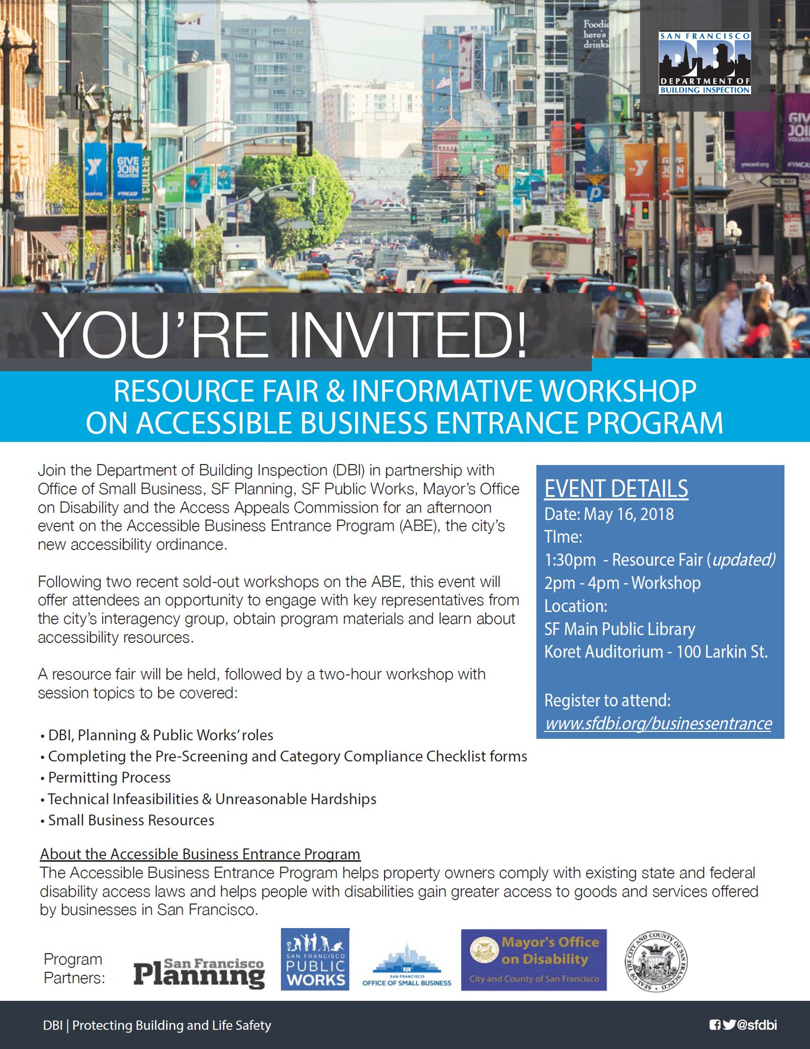 Sfdbi On Twitter Dont Miss The Accessible Business Entrance Program Fair Happening Tomorrow 5 16 Learn How To Comply With This Have Your