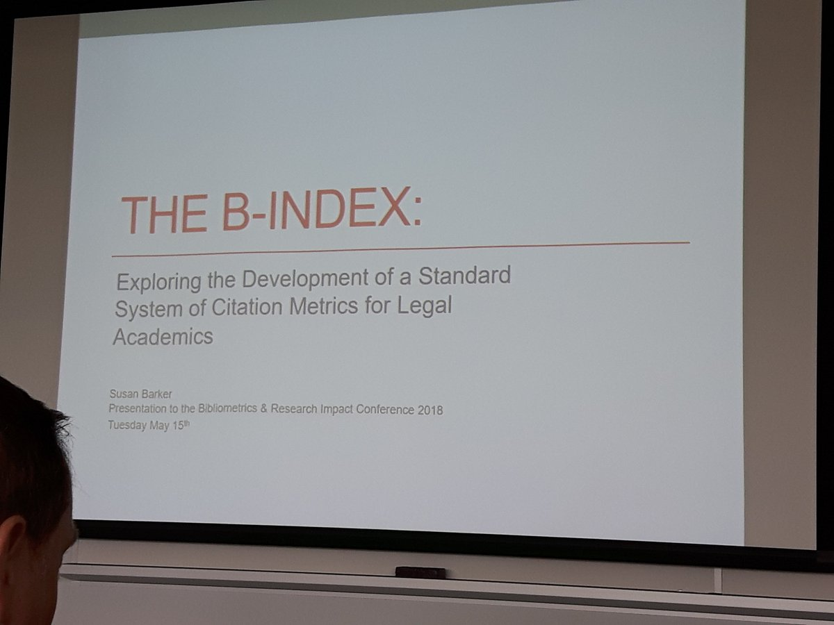 The Law Library&#39;s @susanabee presenting on the b-index at the Bibliographic Research Impact conference in Ottawa.   https:// bit.ly/2k3an6R  &nbsp;   @outlaw @uoftlibraries #bibliometrics <br>http://pic.twitter.com/s5WDiODem4