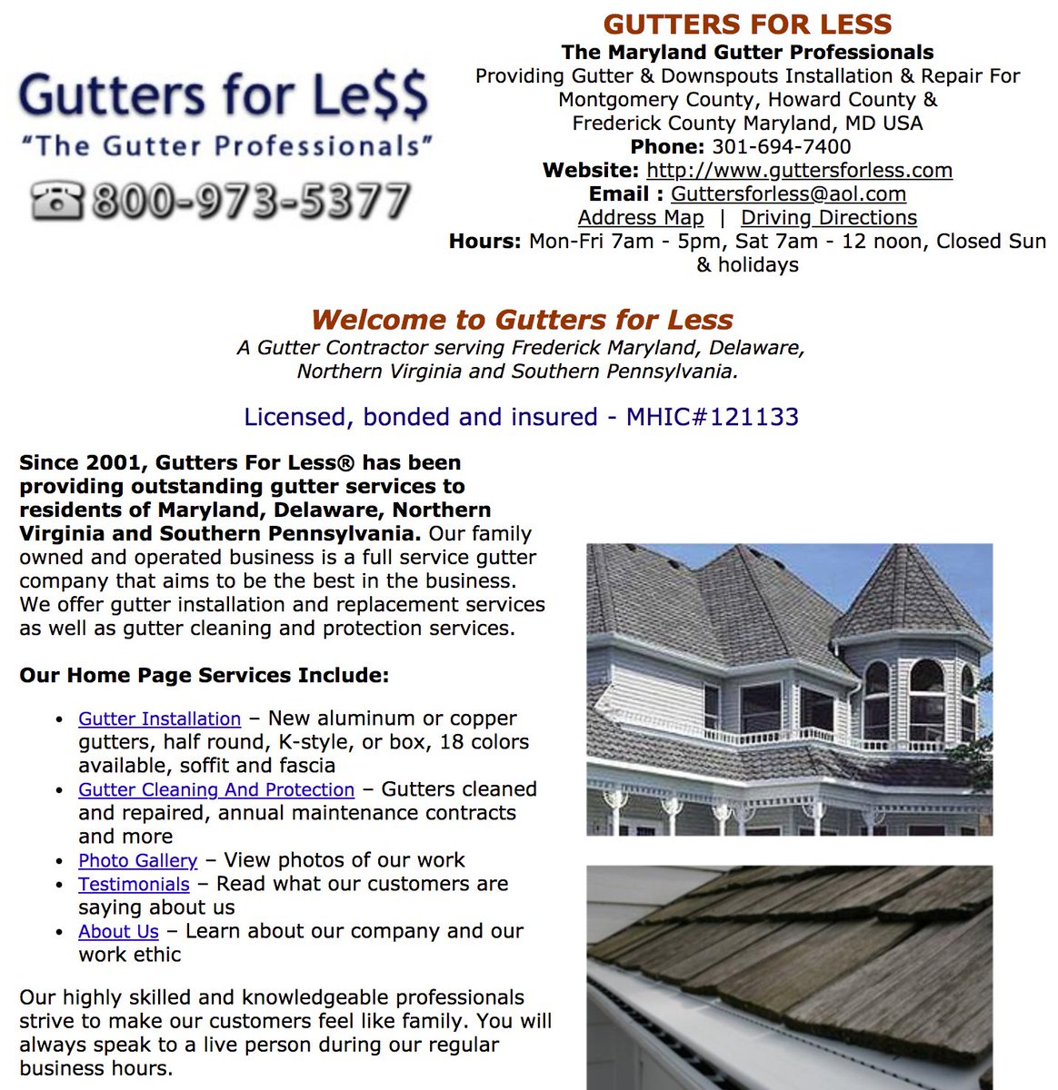 Gutters For Less The Maryland Gutter Professionals Providing Downspouts Installation Repair Montgomery County Howard Frederick
