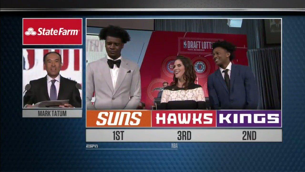 The top 3 picks revealed! #NBADraftLottery https://t.co/BreTMULFRs