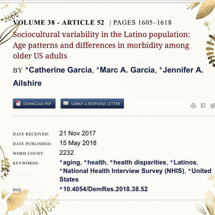Stoked to share my latest paper  that just came out in Demographic Research.  Here&#39;s the link to read the paper for those interested:  https://www. demographic-research.org/volumes/vol38/ 52/38-52.pdf &nbsp; …   #LatinxHealth #HispanicHealth #LatinxAging #HispanicAging #HealthDisparities #NHIS #salud #research #published <br>http://pic.twitter.com/MgKnSSRqRo