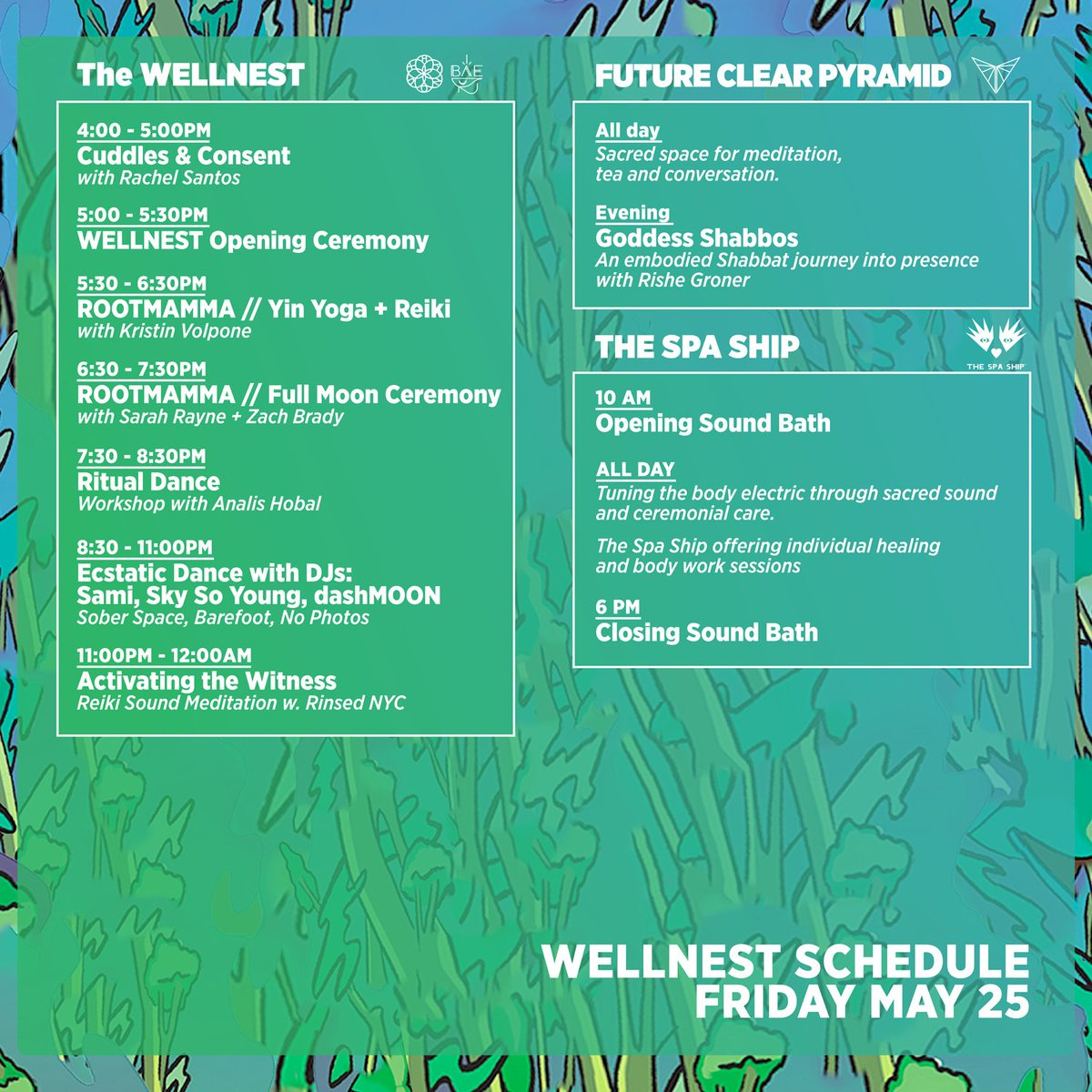 You Have The Set Times The Festival Map And The Activities Schedule Heres The Elementslakewood Well Nest Schedule For Three Full Days Of Workshop And