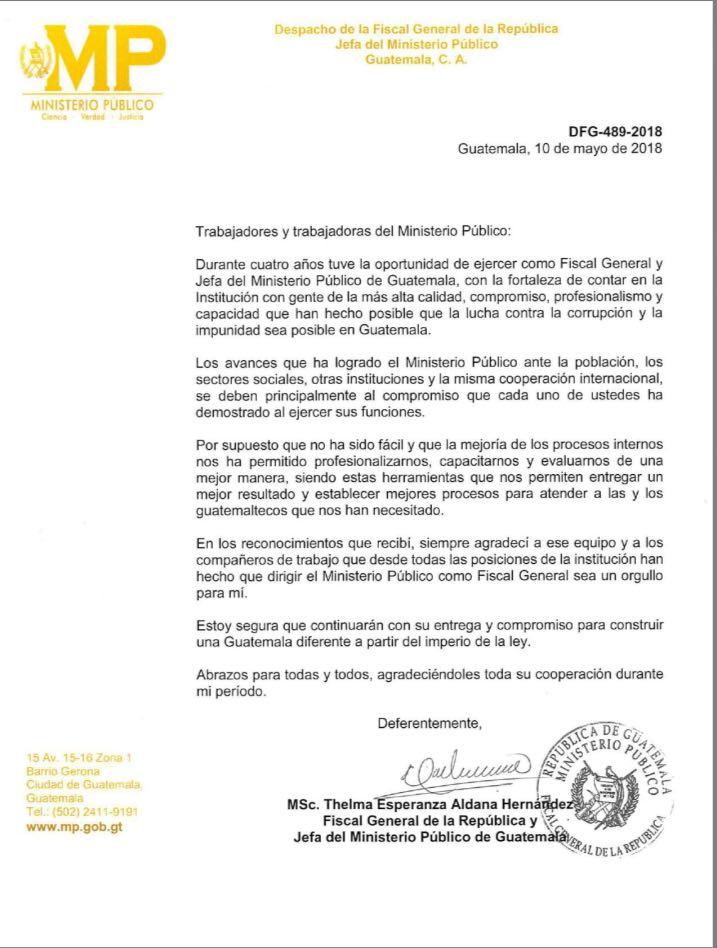 fiscal general thelma aldana emite carta de agradecimiento al