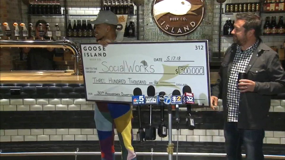 Goose Island Beer donates $300K to Chance the Rapper's SocialWorks charity: abc7.ws/2k2HYO6
