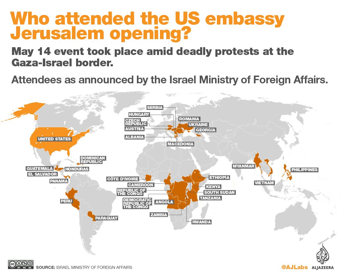 The US embassy opening in Jerusalem — did your country attend? https://t.co/s8phcQU6lQ https://t.co/PvPerK7kjr