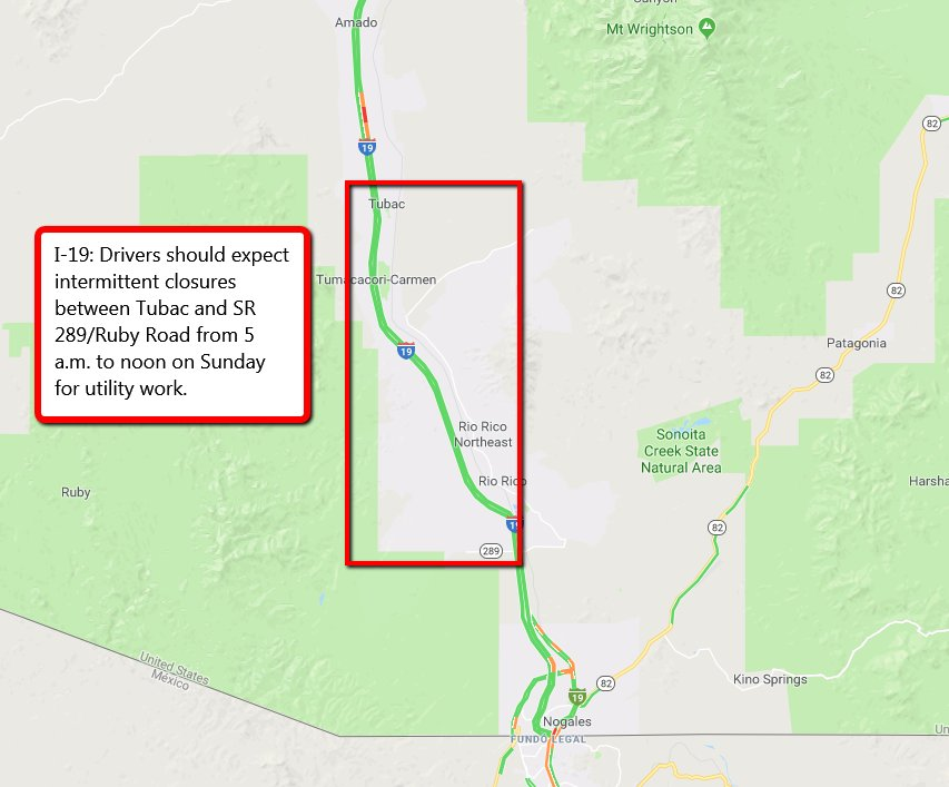 Ruby Arizona Map.Arizona Dot On Twitter Road Work Drivers On I 19 Should Expect