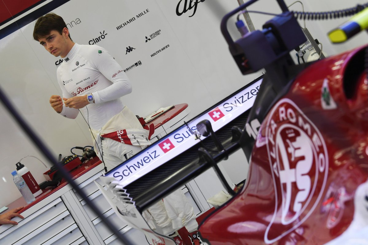 Charles Leclerc in the Alfa Romeo Sauber F1 Team garage