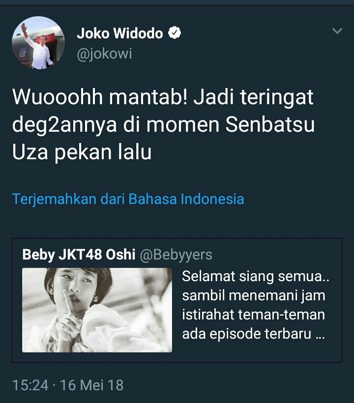 Kicauan Admin Twitter @Jokowi