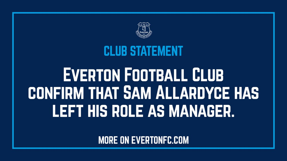 Officiel : Big Sam Allardyce nest plus l'entraîneur dEverton !
