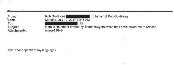 Here&#39;s the document in which Rob Goldstone says that Trump lawyers drafted his statement. <br>http://pic.twitter.com/Gbkj3avIvl