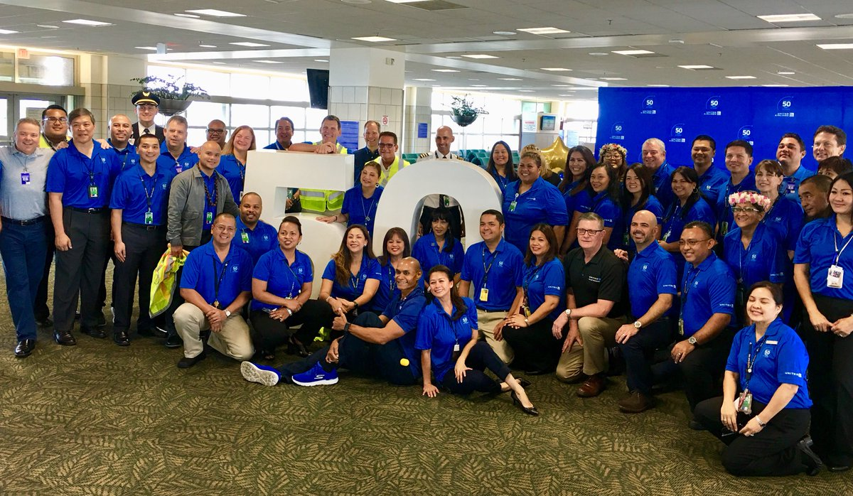 Celebrating 50 years of history in Micronesia with our Guam employees today. So much pride for #beingunited throughout the islands. Congrats! @weareunited @GregHart_UAL @DonW_UAL @johnsla07929413