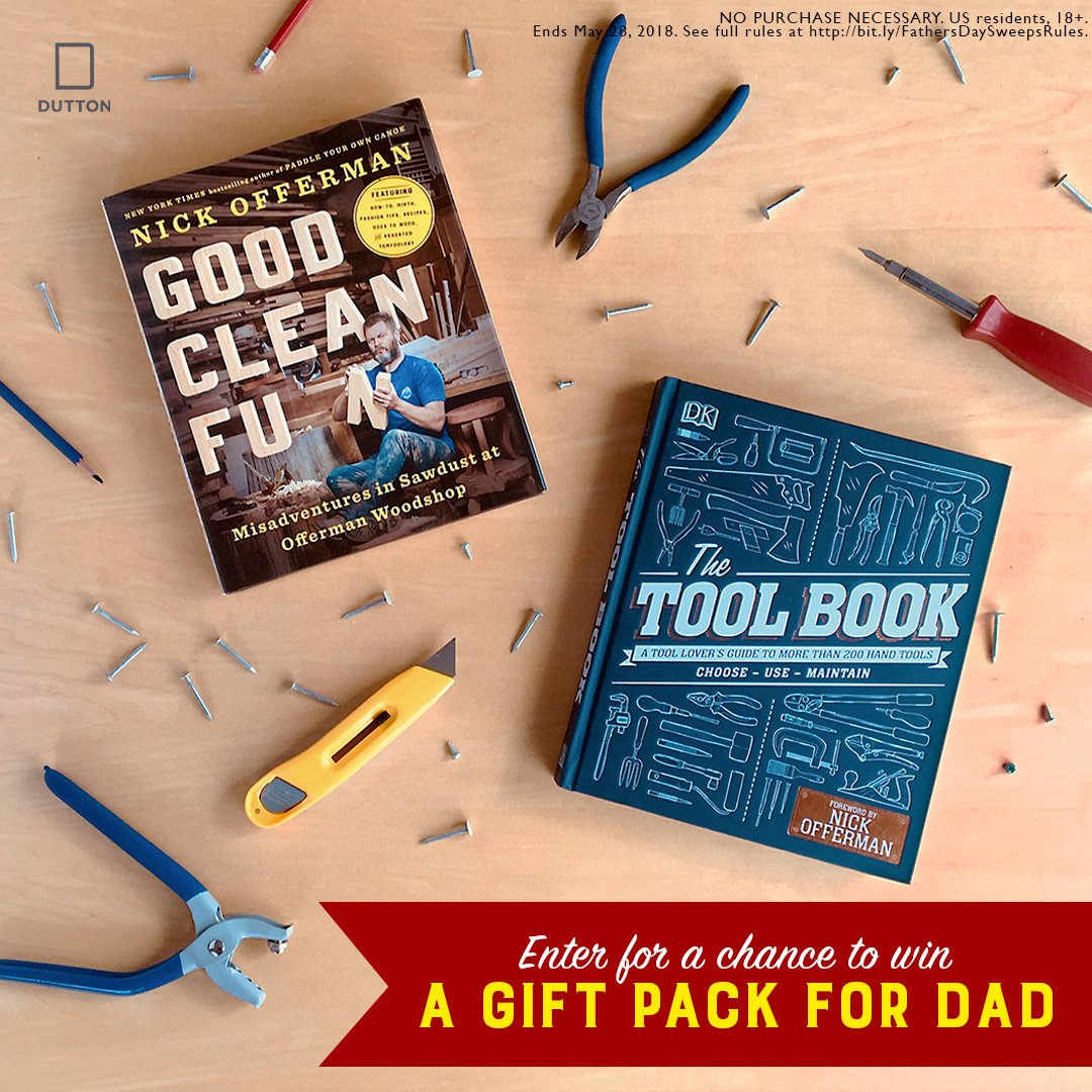 Let @Nick_Offerman take your dad to the Woodshop this #fathersday. Enter for a chance to win a toolific prize pack including Good Clean Fun and The Tool Book. Contest ends on May 28th, so drop that belt sander and enter today. bit.ly/ToolBookOfferm…