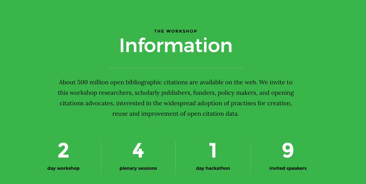 Calling on #bibliometrics researchers #developers &amp; data scientists! It's time to put #opencitations liberated by @i4oc_org to a good use. Do you have an idea building on open citation data? Join us at @workshop_oc for a #hackathon challenge. Register now:  https:// workshop-oc.github.io / &nbsp;  <br>http://pic.twitter.com/EuRWFALNoe
