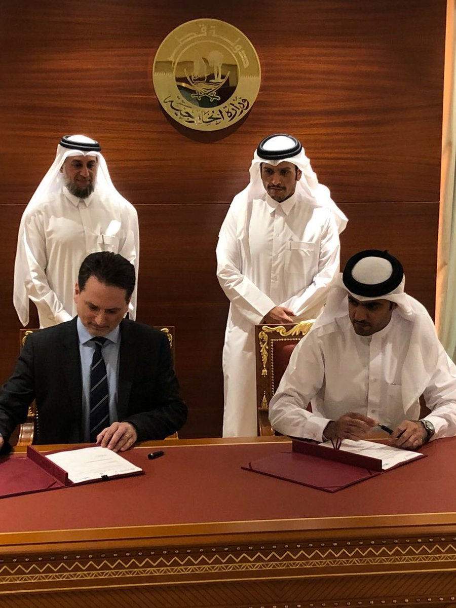 Very important milestone in Doha. Signed $50 M agreement in support of @UNRWA education progr. w/ DG of Qatar Fund for Development, K. Al-Kuwari, in presence of FM @MBA_AlThani_  & Envoy Al-Mureikhi. Grateful to Qatar for confirming generous pledge made at recent Rome Conference.