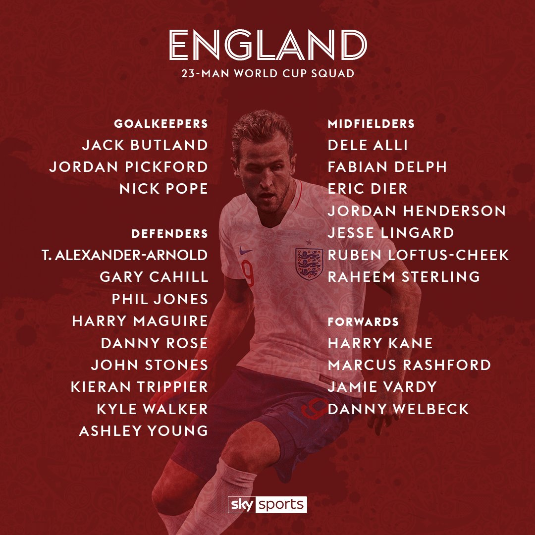 BREAKING: Here is @England's 23-man squad for the @FIFAWorldCup. Live reaction on SSN now. https://t.co/QvxdDvceY5