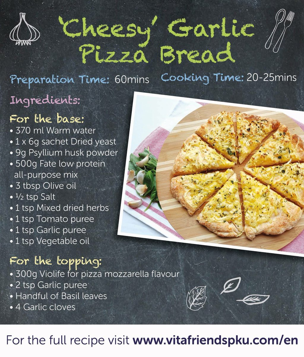 We&#39;re now half way through Fakeaway May and we&#39;ve got a VERY special recipe for you today. This &#39;Cheesy&#39; Garlic Pizza Bread is absolutely delicious (if we do say so ourselves!) Recipe is here:  https://www. vitafriendspku.com/en/recipes/  &nbsp;   #pku #pkurecipes #FakeawayMay<br>http://pic.twitter.com/vP03YNDNAv