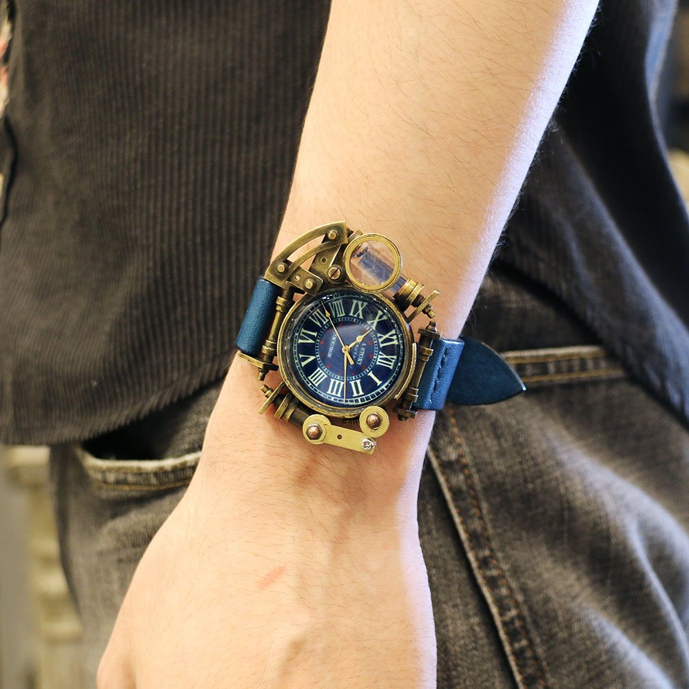 #Geek Awesome of the Day: #Steampunk Solid Brass #Watch with Blue Leather Strap via @handmade_watch #SamaWatch #SamaGeek