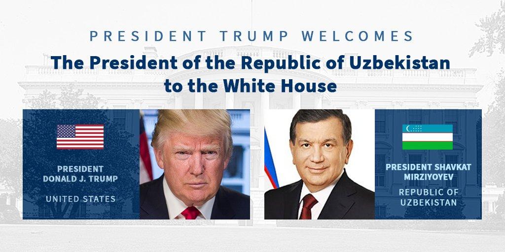 Today, President Trump will welcome President Mirziyoyev of the Republic of Uzbekistan to the White House. https://t.co/rebYQ3cAOs