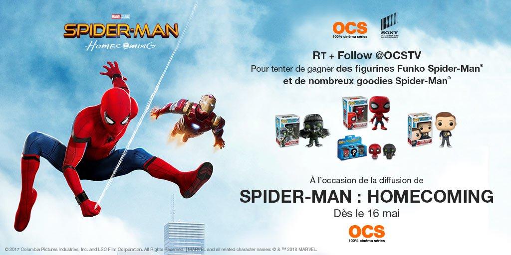 #Concours #SpidermanHomecoming 🕸 🕷 RT+follow @OCSTV pour tenter de gagner des figurines et goodies de l'homme-araignée ! Tirage au sort lundi 21/05 - Règlement : https://t.co/XWqdm4xbmU