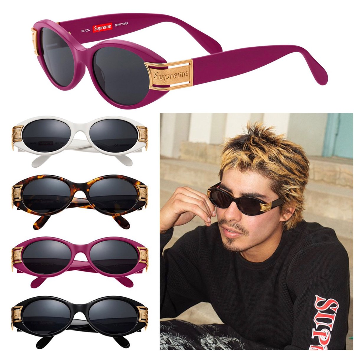 2733737b23e Supreme Sunglasses Dropping Tomorrow In 5 Different Styles  138 Astro Frames   158 Booker Frames  178 Exit Frames  178 Plaza Frames  188 Royale Frames  Check ...