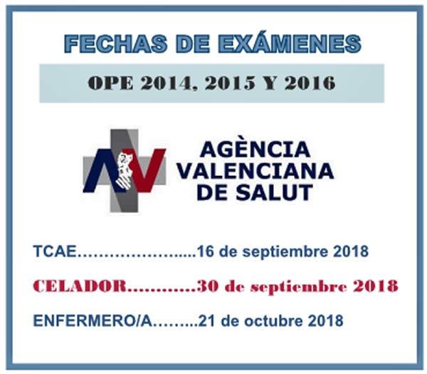 Fechas exámenes OPEs 2014/15/16 Agencia Valenciana de Salud - A.V.S... DdV94OVW0AIT17l