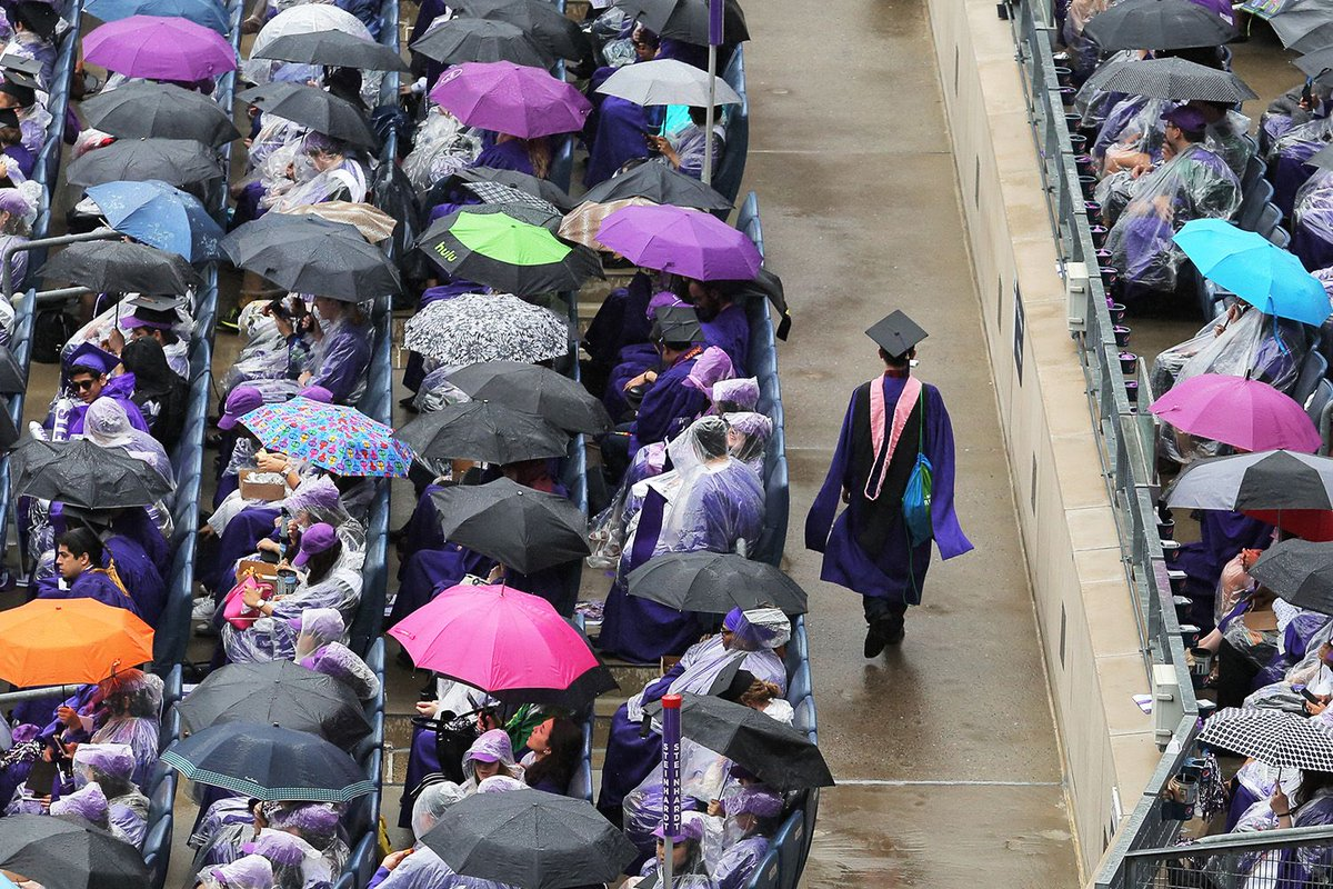 The umbrellas are out but the procession has arrived. #NYU2018 Commencement is officially underway!  #congratagradNYU <br>http://pic.twitter.com/gyjJ4FNLru
