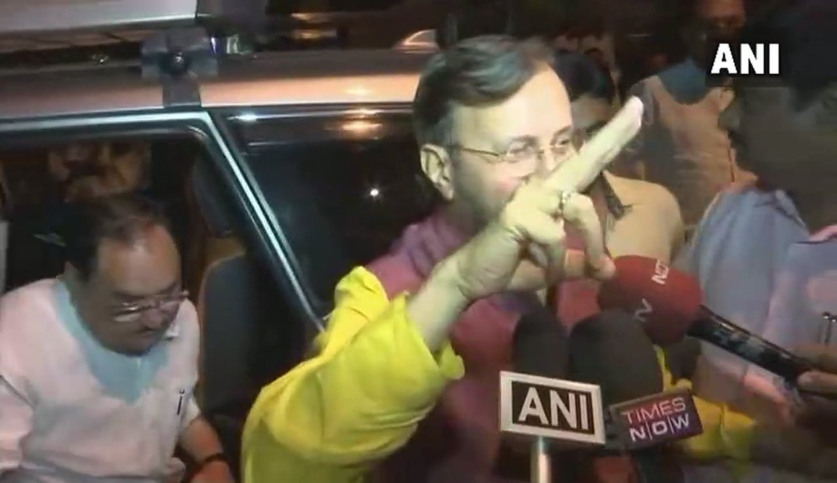 Bengaluru: BJP Karnataka in-charge Prakash Javadekar shows victory symbol on being asked if Governor has sent a letter inviting BJP to form government