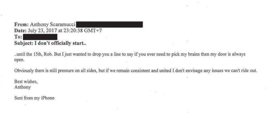 &quot;Anthony Scaramucci, days after he was appointed White House communications director in 2017, wrote an email to Rob Goldstone.&quot;  Goldstone setup the meeting between Kremlin spies, Don Jr.,  Kushner &amp; Manafort at Trump Tower in June 2016.  Here&#39;s the email.  https://www. cnbc.com/amp/2018/05/16 /anthony-scaramucci-emailed-man-who-helped-set-up-trump-tower-meeting-with-russians.html &nbsp; … <br>http://pic.twitter.com/lXVYljI0Vr