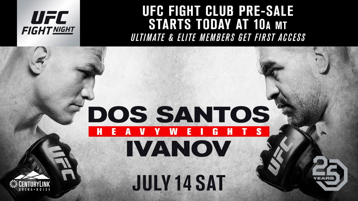 Get your seats at #UFCBoise before anyone else. The @UFC Fight Club pre-sale is LIVE. 🎟 bit.ly/2IrCebo