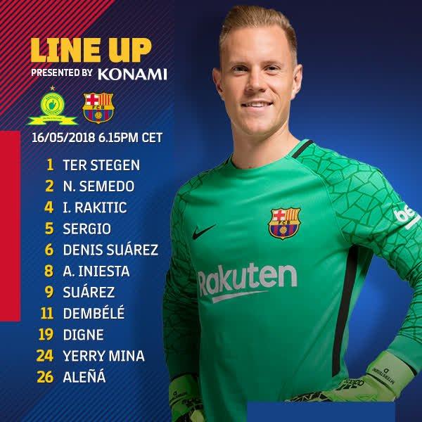 ⚽ 15 minutes to go! A reminder of the Barça XI #SundownsBarça ���� https://t.co/37jb3f8TEI