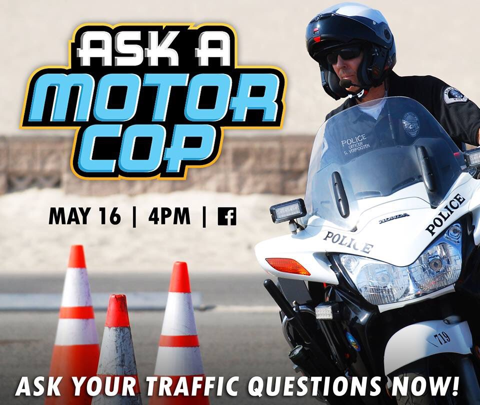 You asked us great traffic questions and TODAY, a Motor Officer is going to answer them! Tune in to #AskAMotorCop this afternoon at 4PM on Facebook Live to see what he has to say!  #traffic #collision #accident #crash #motorcycle #bicycle #citation #laws #helmet #safety #anaheim<br>http://pic.twitter.com/kjSICVWS6n