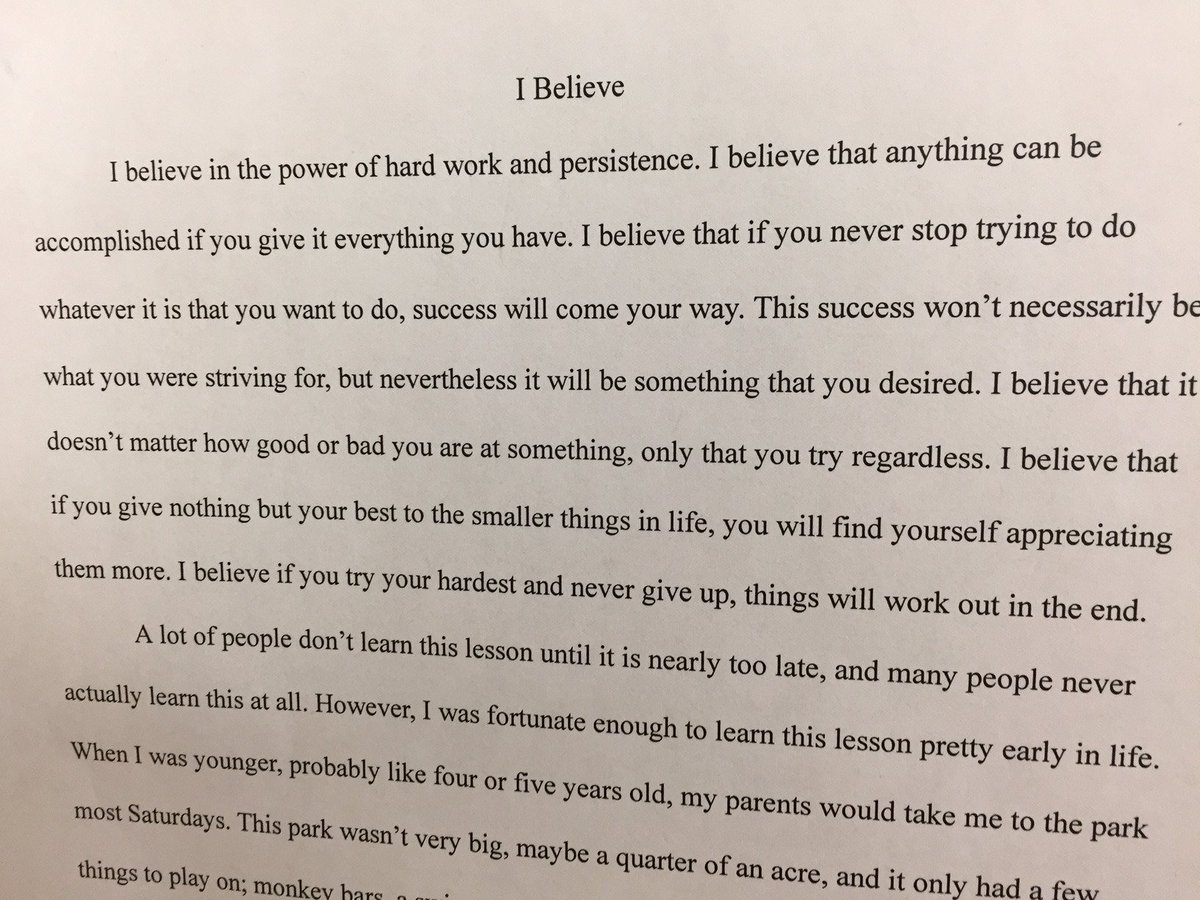 this i believe essays by students