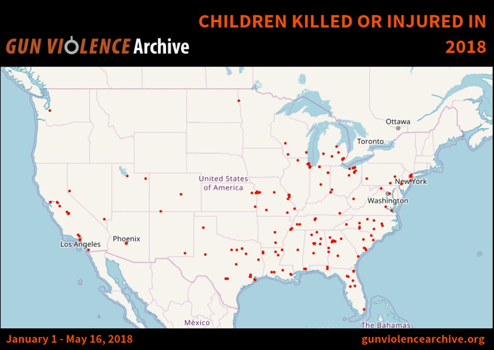 #WednesdayThoughts Number of children* killed or injured in 2018 (as of 16 May):  4  0  0  &lt;10  0  0  0  0  0  0  0  &lt;10  0  0  224*  Impressive track record, @NRA, @DLoesch &amp; @OliverLNorth!  [errors excepted] * age 0-11<br>http://pic.twitter.com/fk95Usxeb0
