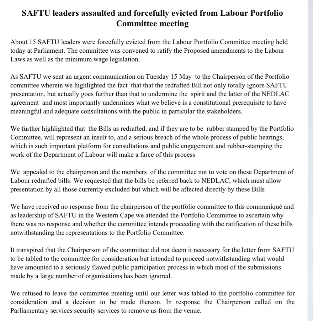 SAFTU in turn claims its 'leaders were forcefully evicted from the Labour Portfolio Committee meeting'.  'Although our demonstration was peaceful we were met with a forceful security who had no regard for our rights to peaceful demonstration. They proceed to forcefully remove us'
